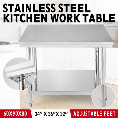 Commercial Stainless Steel Kitchen Food Prep Work Table Bench Worktop 2x3FT