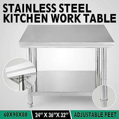 610mm x 915mm Commercial Stainless Steel Kitchen Work Bench Top Food  Prep Table