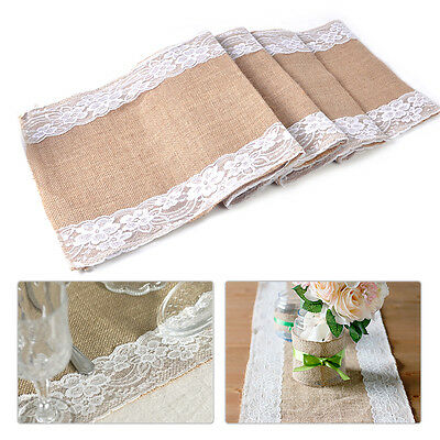 HOT Burlap Wedding Table Runner Natural Jute Lace Trimmed Decoration 108 x 11""