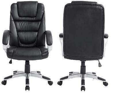 Adjustable High-Back Black PU Leather Executive Swivel Computer Office Chair