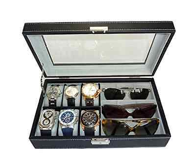 Watch Case and Sunglass Glasses Storage Black Leatherette Combo Jewelry Box -New