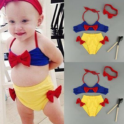 Kids Baby Girls 3pcs Tankini Bikini Set Swimwear Swimsuit Bathing Suit Beachwear