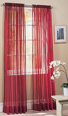 Slot Top/Rod Pocket Voile Curtain Panel Colours Tie Back Included - CLEARANCE
