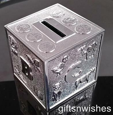 Money Box Silver Plated ABC Alphabet Baby Shower Christening