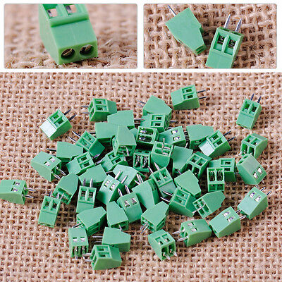 NEW 50pcs 2 Pin 2 Way 2.54mm Straight Pitch PCB Screw Terminal Block Connector