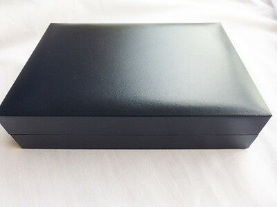 Luxury Dark Blue Leatherette Hinged Necklace Jewellery Gift Box Boxes Packaging