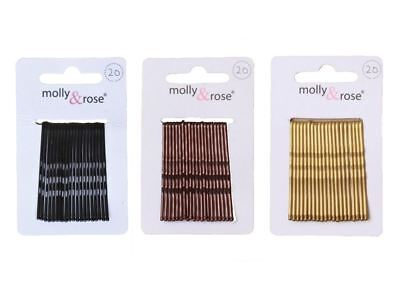 20pc Standard 4.5cm Kirby Grips Hair Bobby Pins Clips Blonde Black Brown