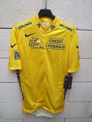 VINTAGE Maillot cycliste JAUNE TOUR FRANCE 2005 Nike Lance ARMSTRONG *NEUF* XL