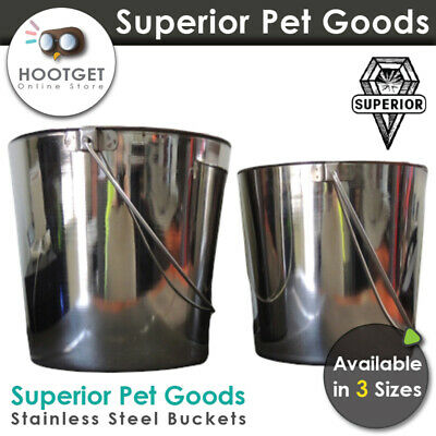 Superior Pet Stainless Steel Pet Bucket 2.8/5.7/8.5L-Dog Cat Bird Chicken Feeder