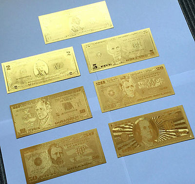 7PCS USA Gold Foil Banknotes $100/50/20/10/5/2/1 Christmas Collections Arts Gift