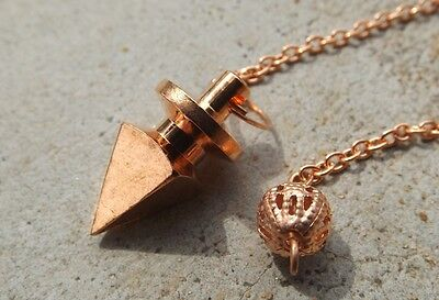 Copper plated four sided metal cone healing dowsing pendulum