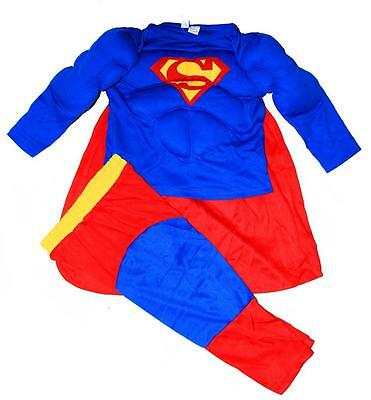 New Size 2-12 Kids Child Superman Muscle Party Costumes Boys Toddler Superhero