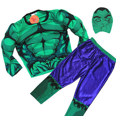 New Size 2-10 Kids Child Hulk Avengers Muscle Party Costumes Boys Toddler