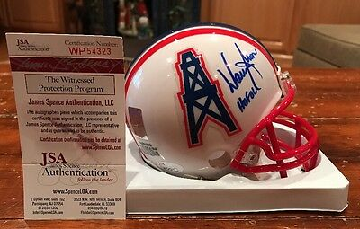 Warren Moon Autographed Houston Oilers Mini Helmet HOF 06 Witness JSA GTSM
