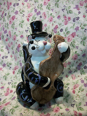 Whimsiclay Annaco Creations Cat Upright Bass With Derby 23353