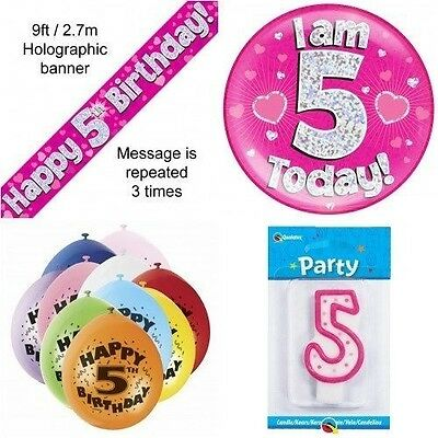 5th Birthday Party Set Age 5 Girls (Banner Balloons, Candle, Badge)