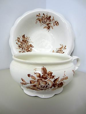 Vintage W.S. George QUEEN Chamber Pot and Wash Basin Cream & Brown Roses