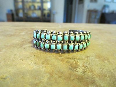 Exquisite OLD Zuni Sterling Silver SQUARE Turquoise ROW Cuff Bracelet