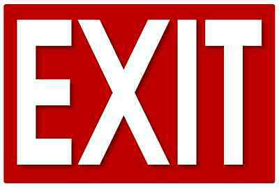 Set of 2 Self Adhesive Exit Signs, 7.25 by 11 Inches - High Quality Stickers.