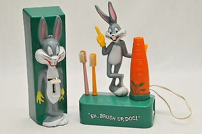 Vintage Janex 1975 Bugs Bunny Toothbrush & Wall Mounted Dispenser