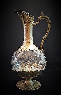 French Art Nouveau Maison Odiot .950 Silver-Gilt Mounted Rock Crystal Claret Jug