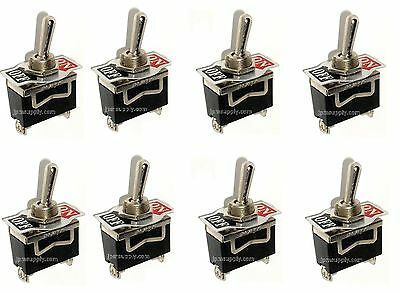 8 SPST ON/OFF Toggle Switches 20amp 1/2 Mount