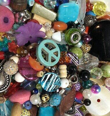 HUGE LOT MIXED Beads Charms Spacers Jewelry Making Color Metal Glass 200 + Pcs !