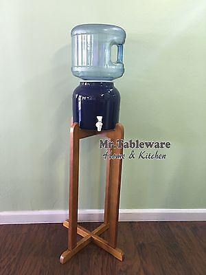 Porcelain Ceramic Water Dispenser Cobalt Blue and Dark Natural Wood Floor Stand