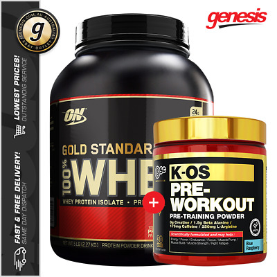 Optimum Nutrition GOLD STANDARD 100% WHEY 5LB + Body Science BSc KOS PRE WORKOUT