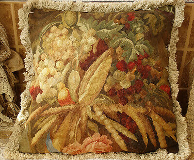 "19"" Vintage Artistic Still Life Hand-woven Authentic French Aubusson Pillow"
