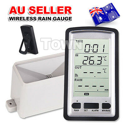 Wireless Thermometer Rain Gauge Meter Weather Station for indoor outdoor Temp