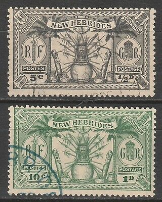 New Hebrides 1925 Weapons And Idols Dual Currency  1/2D And 1D  Used