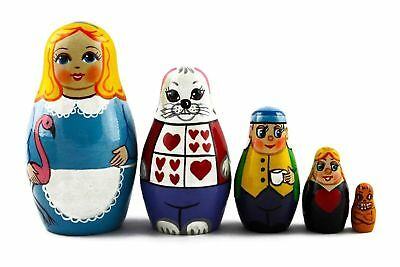 5 pcs Russian Nesting Doll ALICE IN WONDERLAND #3643
