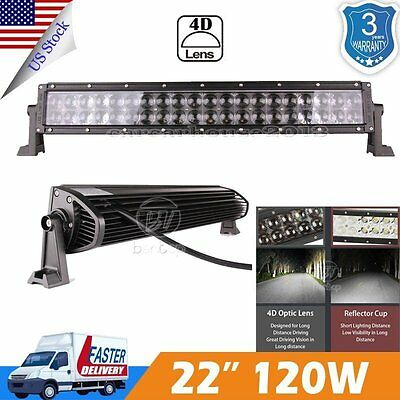 "4D+ 22"" inch 120W Led Work Light Bar Flood Spot Combo SUV ATV CAR 4WD"