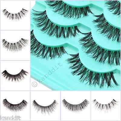 1-10 Pairs Long Natural Thick Handmade Fake False Eyelashes Eye Lashes Also Mink
