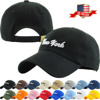 New York Washed  Polo Style Baseball Ball Cap Hat 100% Cotton NEW