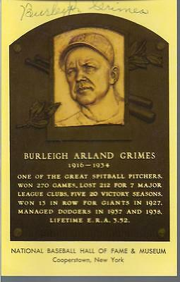 Burleigh Grimes Signed Yellow Hof Post Card Dodgers Auto Autograph