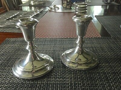 "Marked Sterling Silver Pair Weighted Candle Holders Elegant 5"" tall"