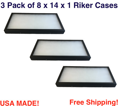 3 Pack of Riker Display Cases  14 x 8 x 1 for Collectibles Jewelry & More