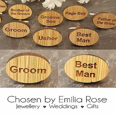 WOODEN OVAL Wedding Cufflinks Cuff Links Groom Best Man Usher Page Gift Set New