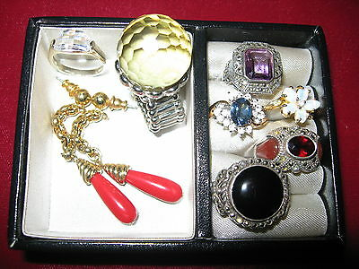 Jewelry lot variety of rings sizes 5&6 onyx, garnet, amethyst, marcasite w/box