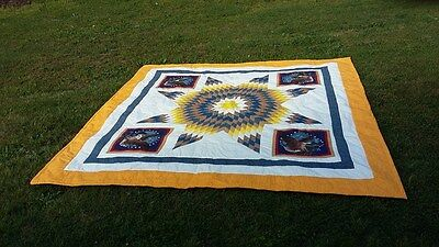 Native American Star Quilt Hand Made King size Powwow Authentic
