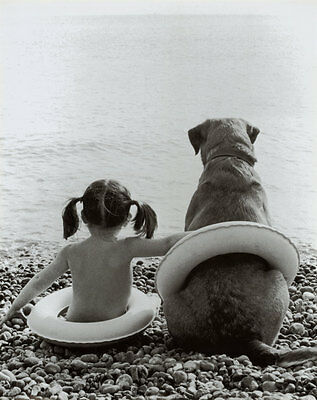 Girl with Dog Poster Print, 16x20