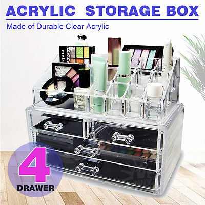 Clear Acrylic Makeup Holder Cosmetic Organizer 4 Drawer Storage Jewellery Box