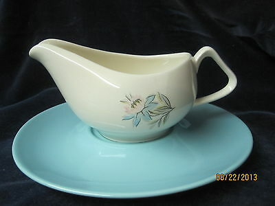 Vintage Steubenville Blue Lotus Gravy boat with underplate