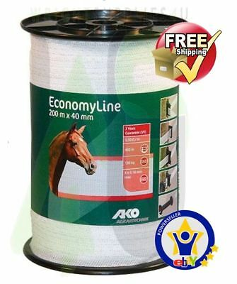 ELECTRIC FENCE TAPE -40mm x 200 Metres White Poly Fencing Horse Paddock