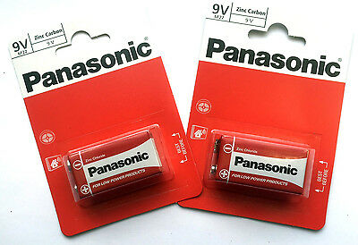 2 x PANASONIC BATTERY 9V 6F22 MN1604 ZINC CARBON Square Batteries Ind. Sealed