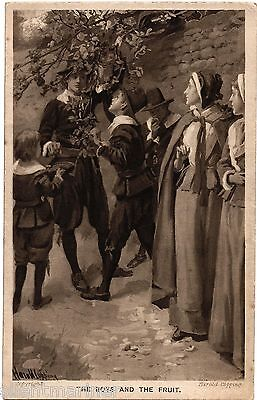 Harold Copping religious postcard, The Boys and The Fruit, unposted