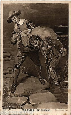 Harold Copping religious postcard, The Slough of Despond, unposted