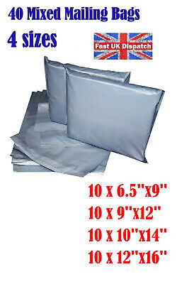 40 Mixed Mailing Bags Cheap Strong Grey Plastic Poly Postal Postage  Auct 5 4U